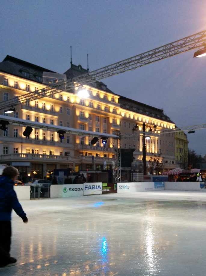 Ice Skating at Christmas market
